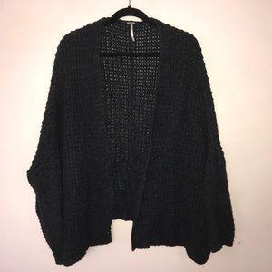 Free People Breeze Waffle Knit Charcoal Sweater